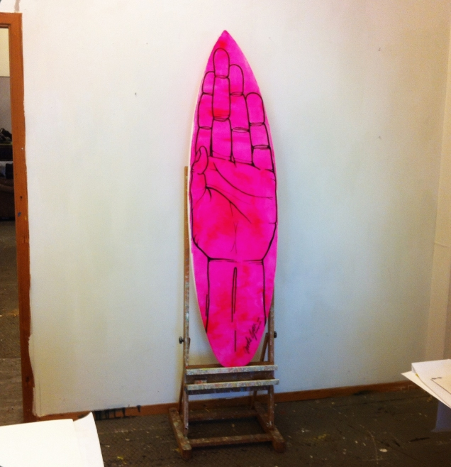 New surfboard as canvas. I love PINK!